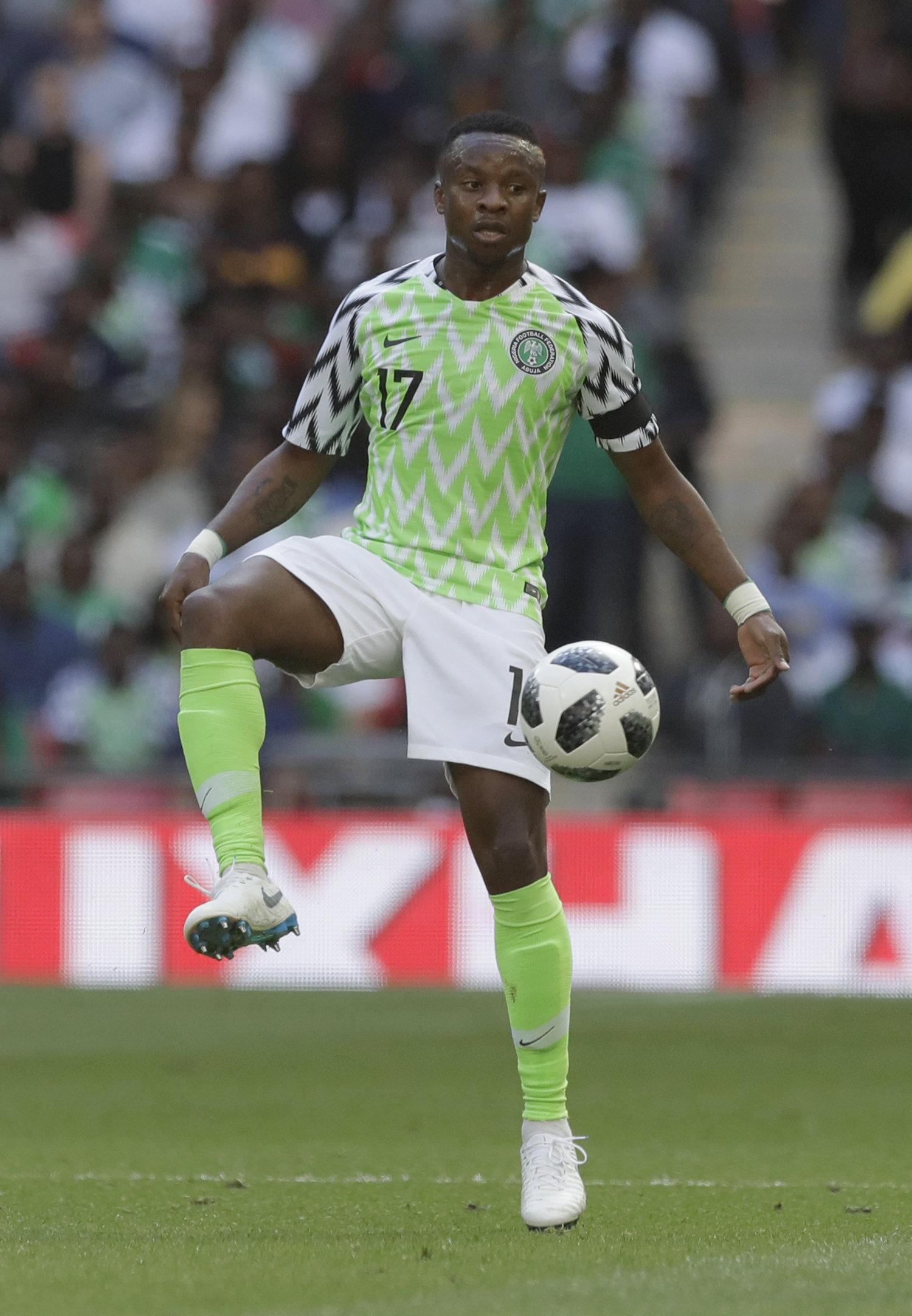 Camiseta de la selección de fútbol de Nigeria para la Copa Mundial de Fútbol Rusia 2018.