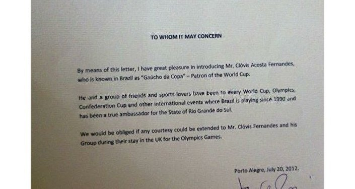 Carta que el consulado británico en Porto Alegre envió en apoyo de Clovis Fernandes con motivo de Londres 2012