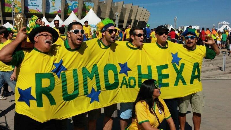 El grupo de hinchas brasileños Gaúchos na Copa