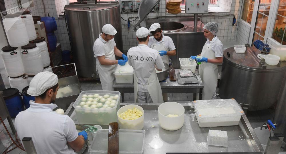 Producción de queso en el restaurante Quesería