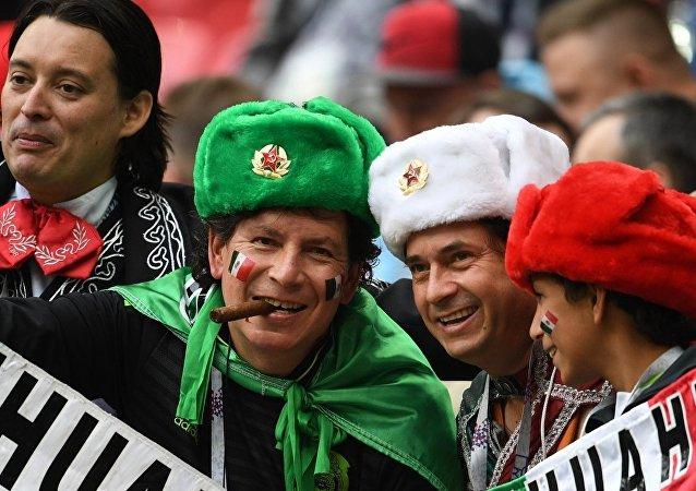 Hinchas mexicanos en la Copa Confederaciones Rusia 2017
