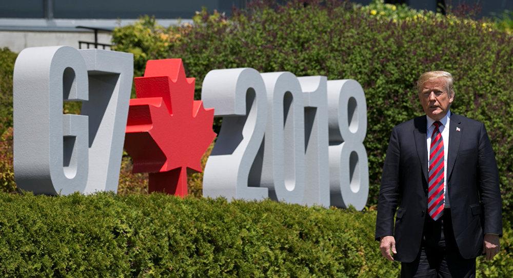 El presidente de EEUU, Donald Trump en la cumbre del G7