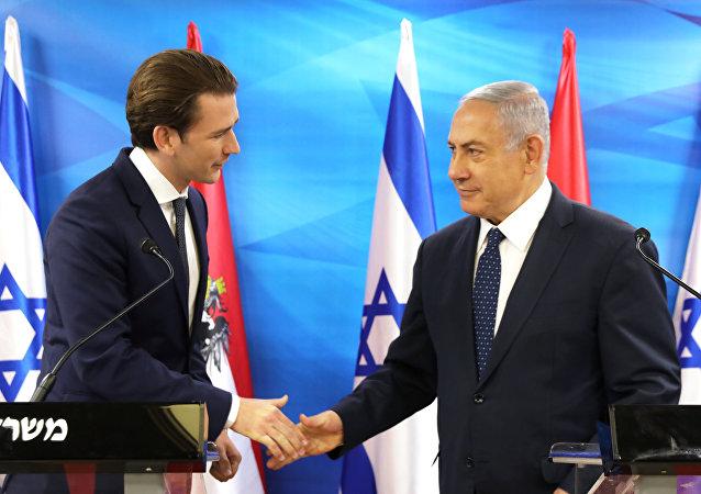 El canciller austriaco, Sebastian Kurz, con  el primer ministro israelí, Benjamín Netanyahu