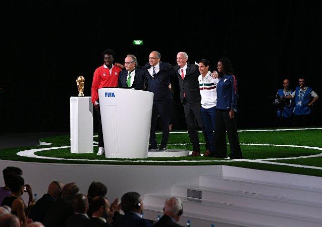 Los representantes de EEUU, México y Canadá durante la 68 cumbre de la FIFA