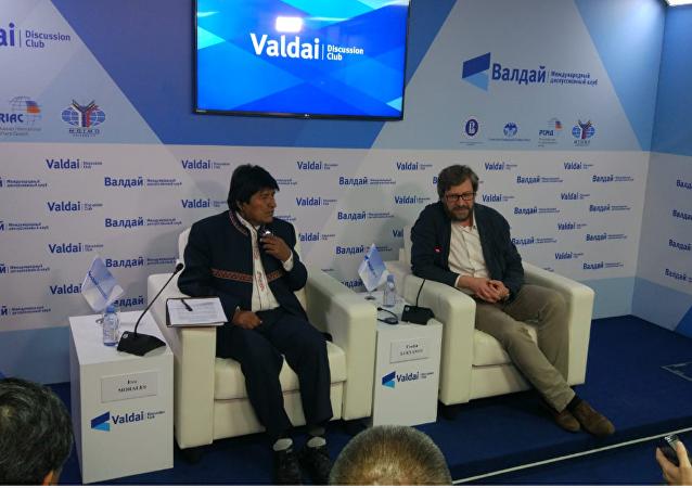 Evo Morales durante su discurso en el Club Valdái