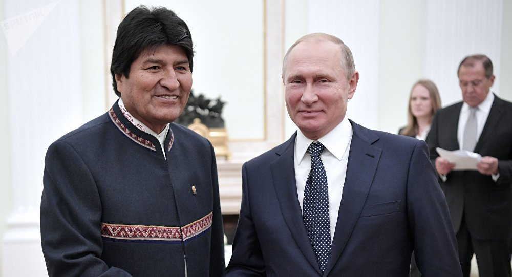 Presidente de Bolivia, Evo Morales y presidente de Rusia, Vladímir Putin (archivo)