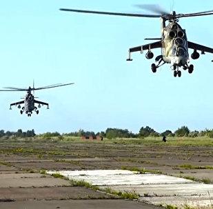 Los helicópteros Mi-24 y Mi-8 pulverizan los 'objetivos' en tierra