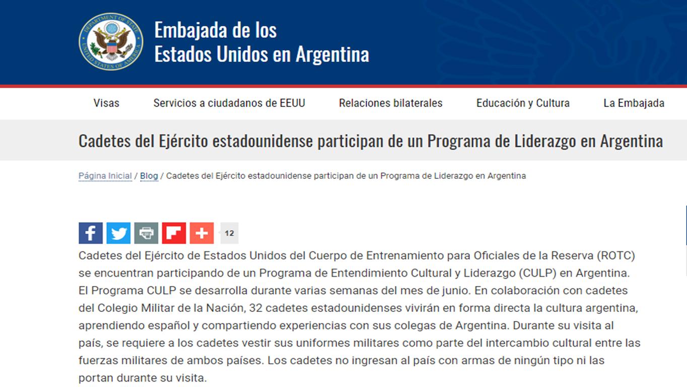 Captura de la nota de prensa de la Embajada de EEUU en Argentina
