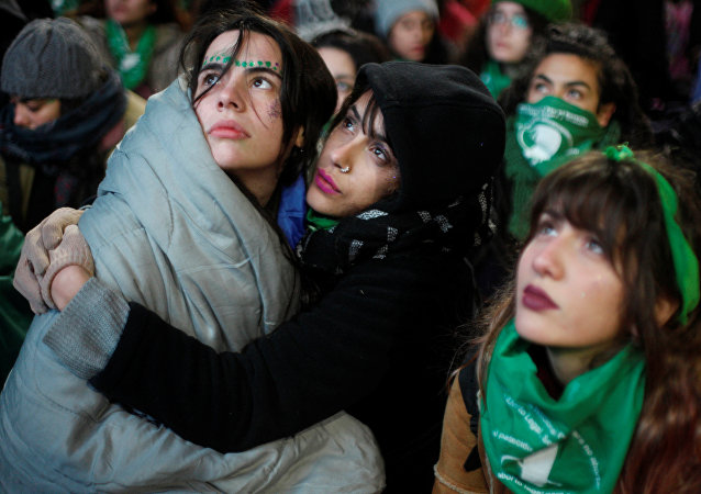 Manifestación a favor del aborto en Argentina