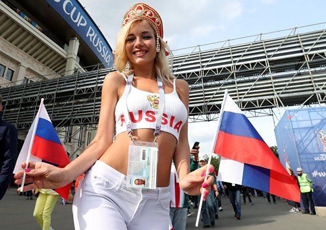 Una hincha de la selección rusa