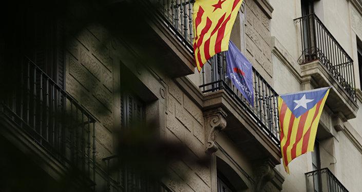 Esteladas, banderas independentistas de Cataluña (archivo)