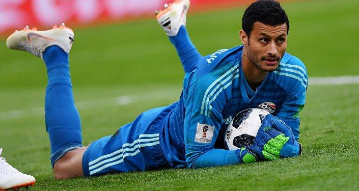 El portero de la selección de Egipto, Mohamed Elshenawy
