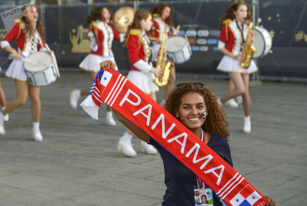 An Iranian national football team fan waving a scarf ahead of a group stage World Cup match between Morocco and Iran at St. Petersburg stadium.