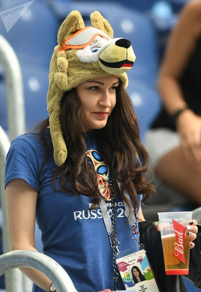 A Russian fan ahead of a group stage World Cup match between Morocco and Iran at St. Petersburg stadium.