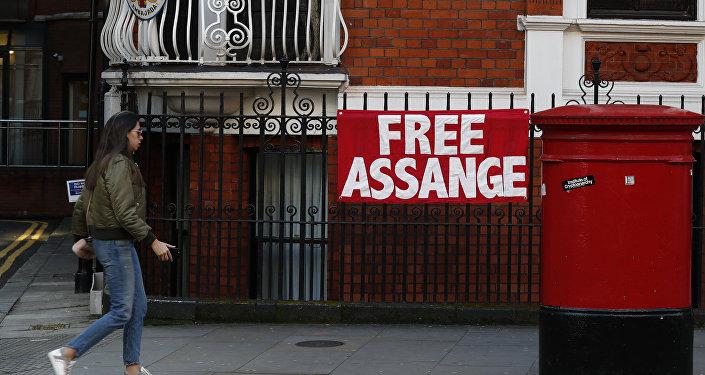un cartel con el lema 'Libertad para Assange' en Londres (archivo)