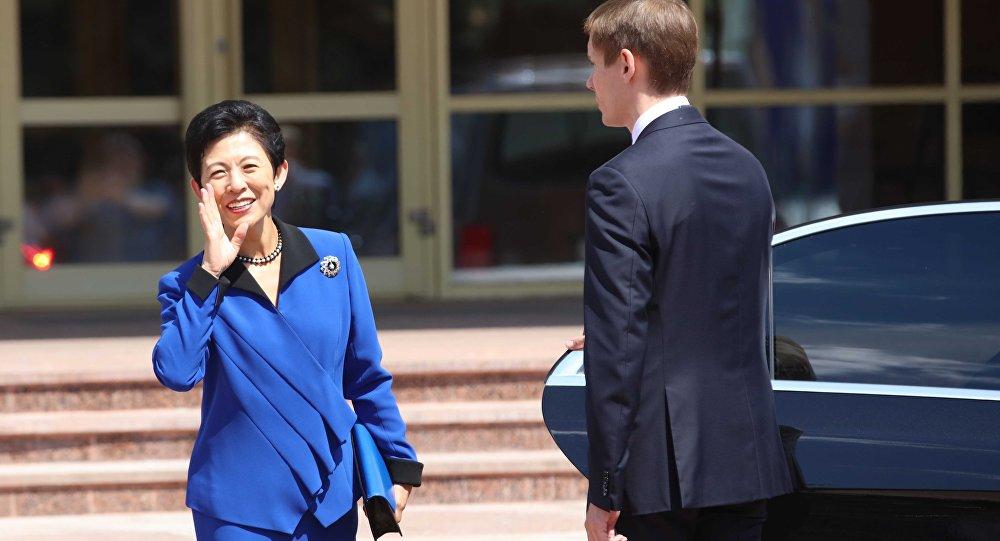 Hisako Takamado, la princesa japonesa durante su visita a Rusia