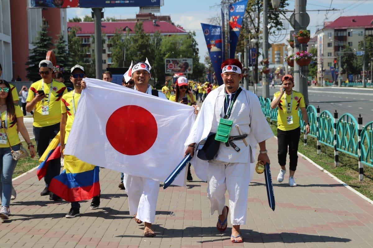 Hinchas japoneses en Moscú
