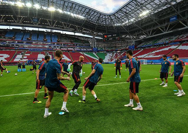 Un entrenamiento de la selección española en Kazán