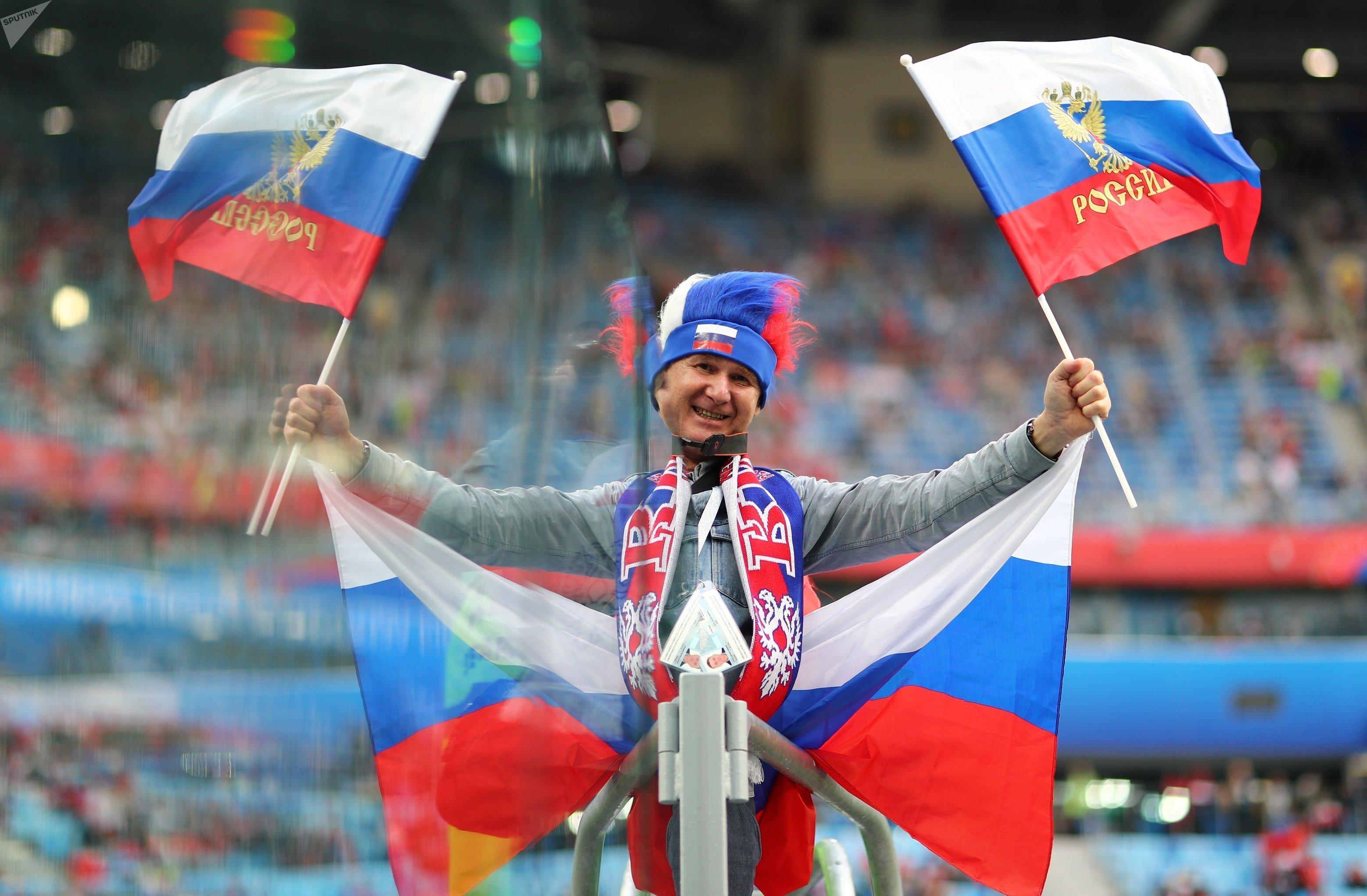 Un hincha de la selección de Rusia en el partido ante Egipto