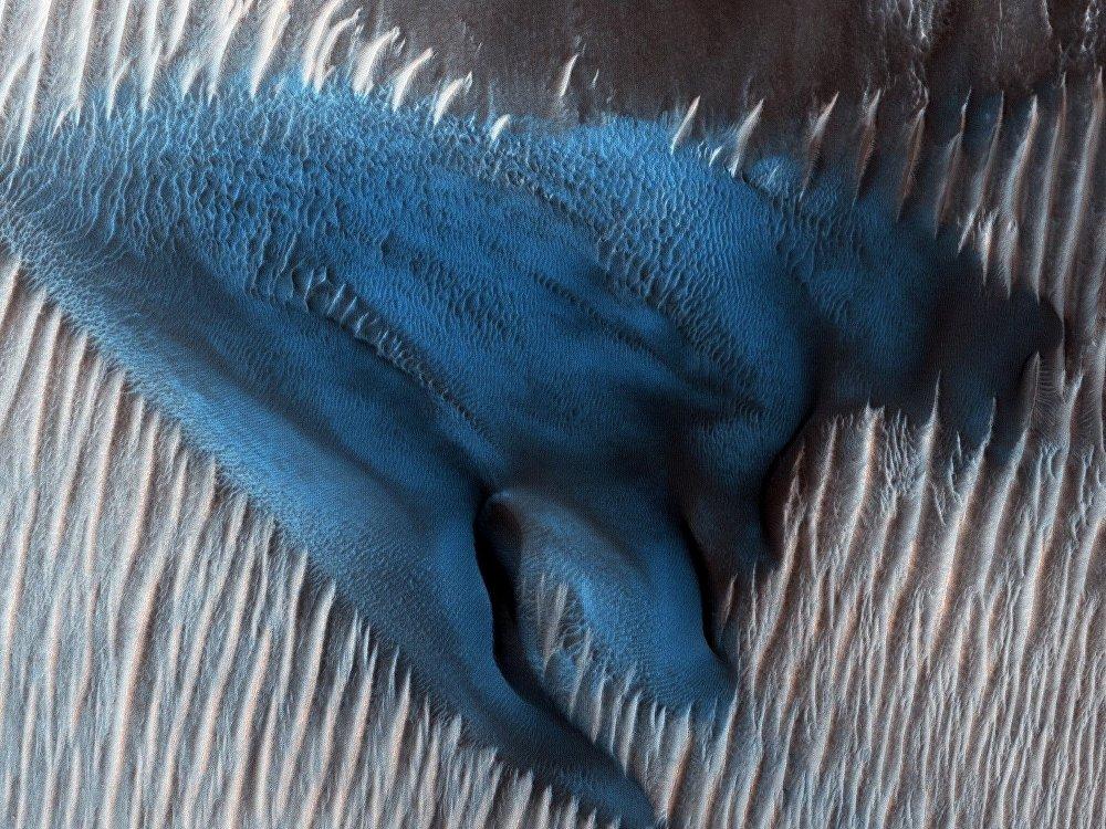 Dunas azules en el Cráter Lyot, Marte