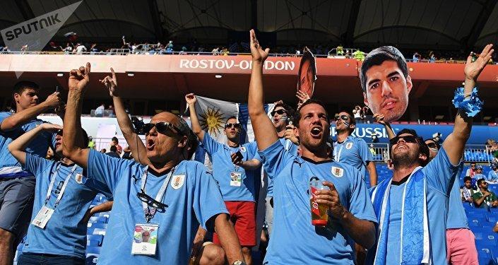 Hinchas uruguayos en Rostov del Don