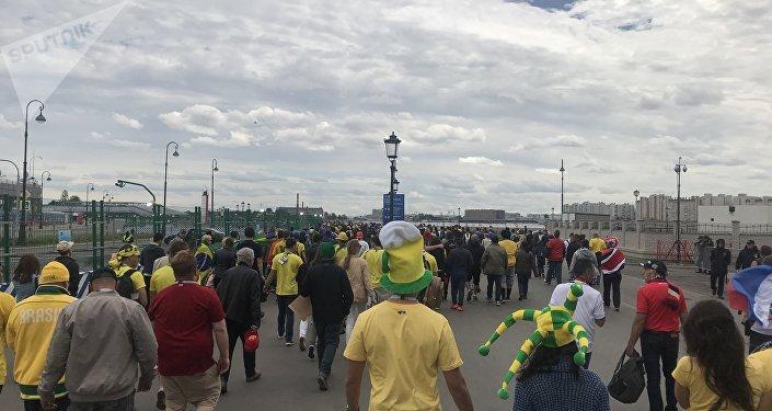 Los alrededores del estadio de San Petersburgo poco antes del partido del 22 de junio que enfrentó a Costa Rica contra Brasil