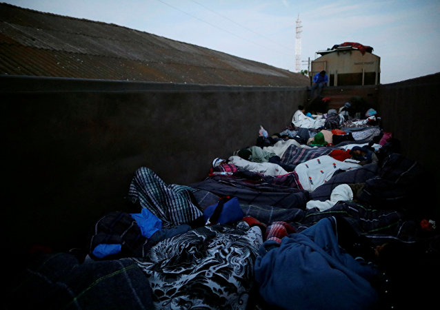 Migrantes centroamericanos en un tren en la frontera con EEUU