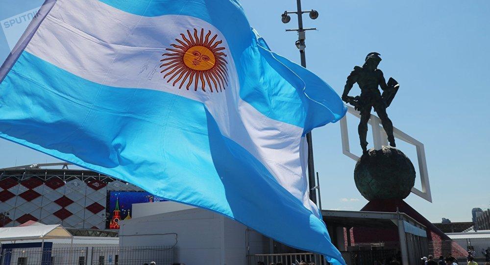 Bandera de Argentina en Moscú (archivo)