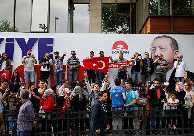 Los partidarios del presidente turco, Recep Tayyip Erdogan, durante las elecciones