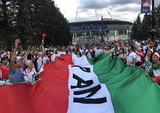 Hinchas iraníes en San Petersburgo