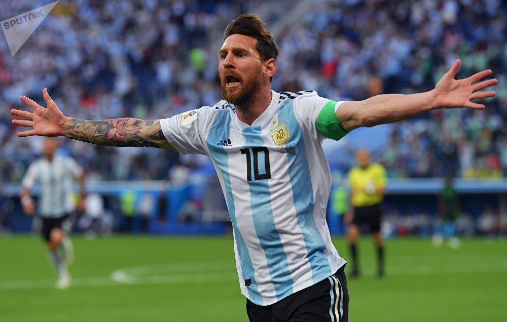 Lionel Messi celebra su primer gol en el Mundial de Rusia