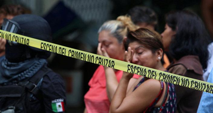 Una escena del crimen debido a la violencia en México