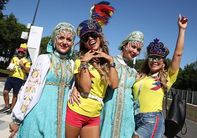 Hinchas colombianas en Rusia