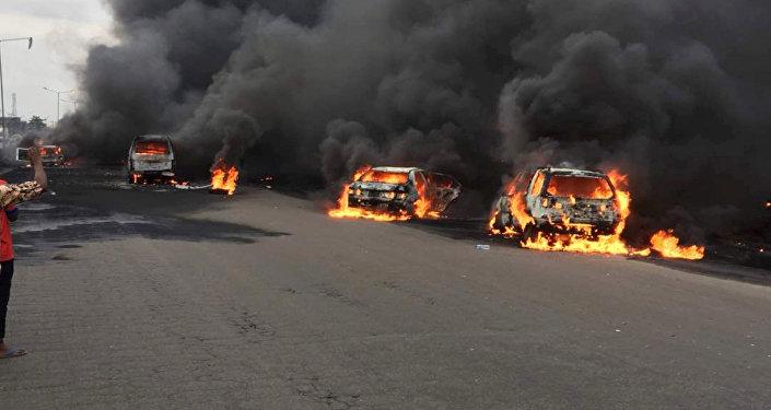 Lugar de la explosión en Lagos, Nigeria