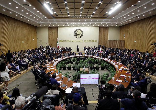 Sesión del Instituto Nacional Electoral de México (INE)
