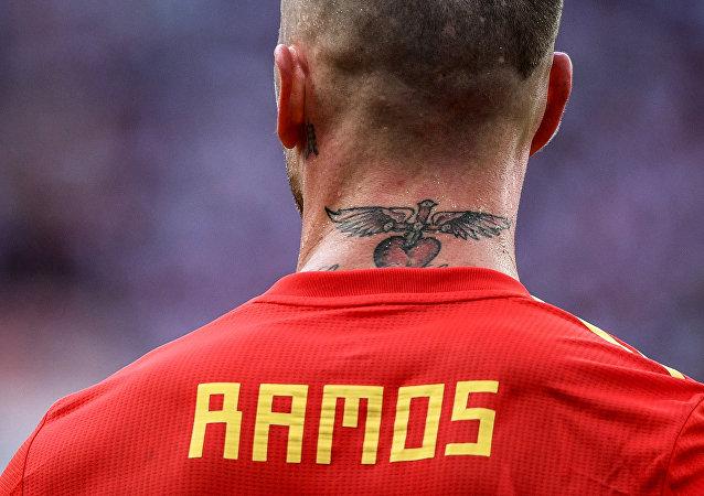 Sergio Ramos en el partido de los octavos del final entre las selecciones nacionales de España y Rusia