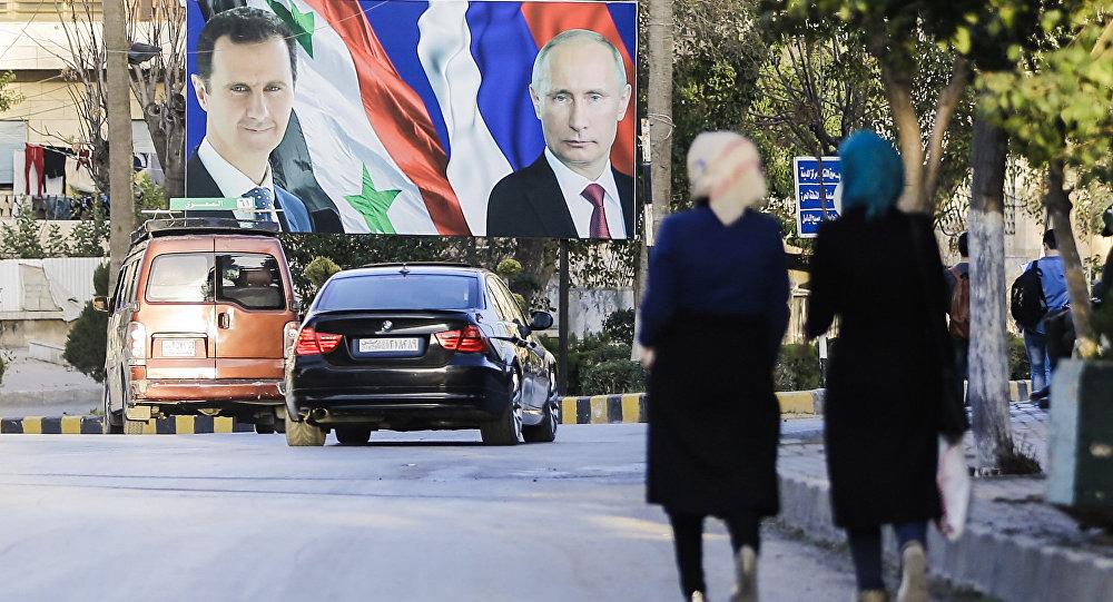 Los retratos de Bashar Asad y Vladímir Putin en Alepo, foto de archivo