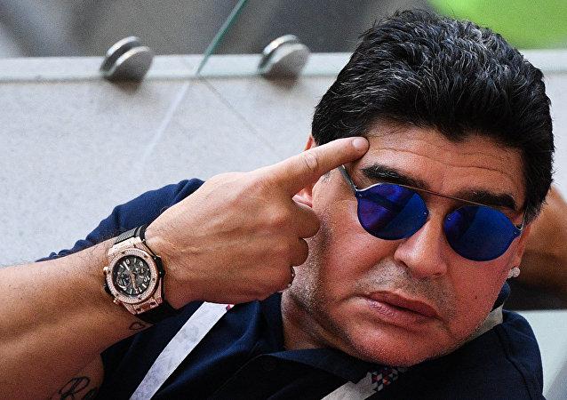 Diego Maradona durante el Mundial 2018