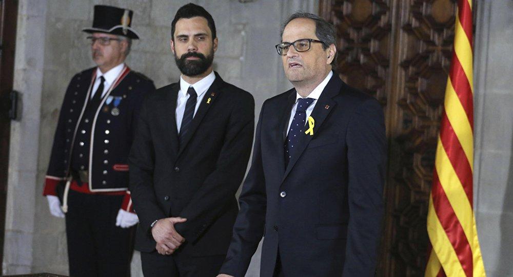 El Presidente del Parlamento catalán, Roger Torrent y El presidente de la Generalitat (Ejecutivo catalán), Quim Torra
