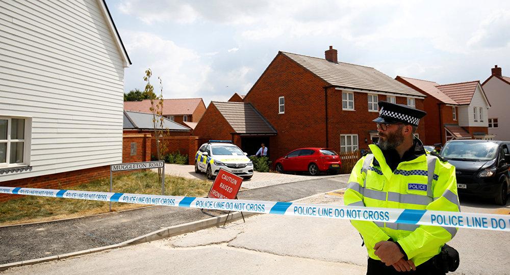Policía británica en Amesbury, Reino Unido