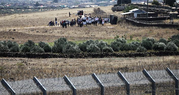 Refugiados sirios en la frontera con Israel
