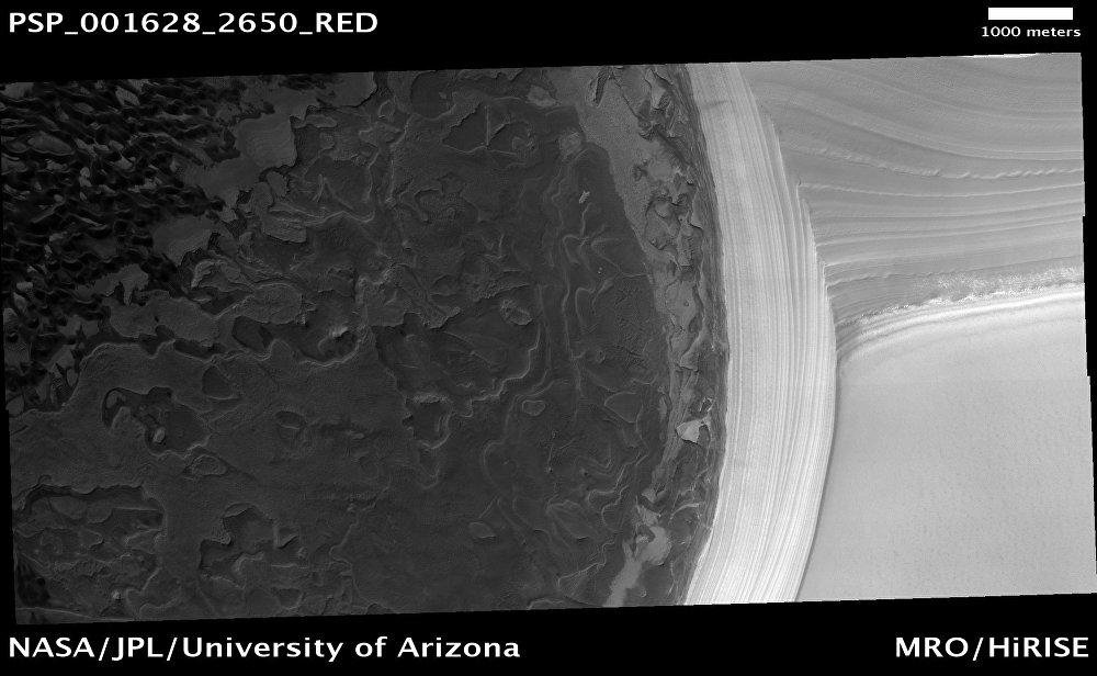 Depósitos estratificados del Polo Norte de Marte (1 de diciembre de 2006)