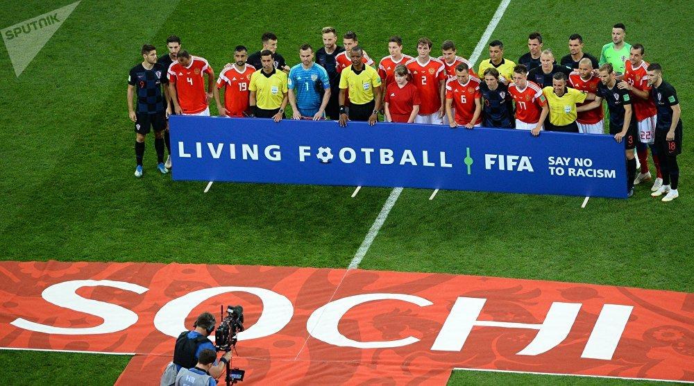 Las selecciones de Rusia y Croacia, momentos antes del partido en Sochi