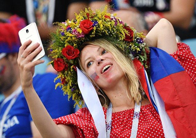 Una hincha de Rusia