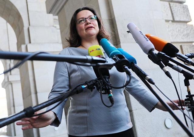 Líder del partido Social Demócrata de Alemania, Andrea Nahles