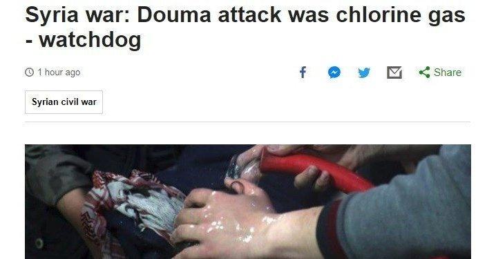 Artículo de BBC, cuyo título afirmaba erróneamente que la OPAQ encontró cloro en las muestras recogidas en Duma