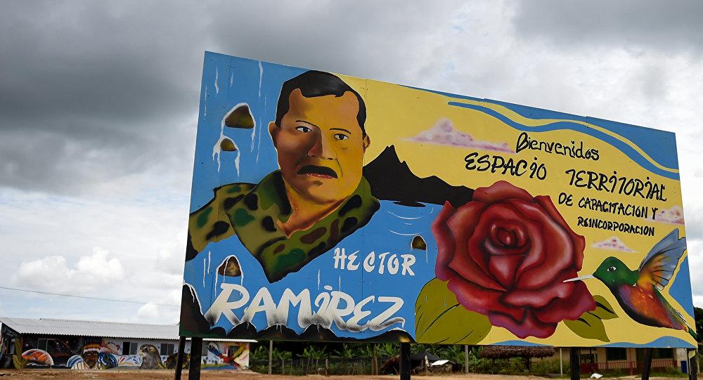 Un cartel en el Espacio Territorial de Capacitación y Reincorporación en Caquetá, Colombia