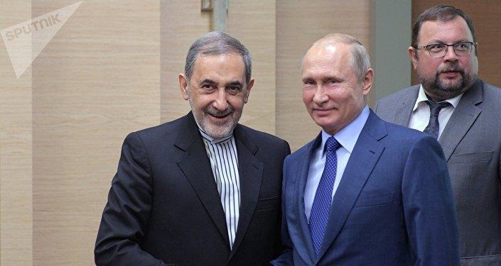 El asesor para asuntos internacionales del líder supremo de Irán, Alí Akbar Velayati, y el presidente de Rusia, Vladímir Putin