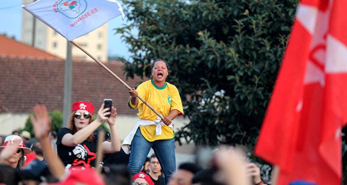 Manifestación a favor de la liberación del expresidente brasileño Luiz Inácio Lula da Silva