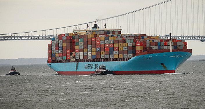 Un buque de carga en el puerto de Nueva York